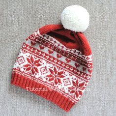 "Knit pretty fair isle beanie in poinsettia theme, slouchy with pom pom. Choose from 2 pattern variations: Hearts & Tic-Tac-Toe. 22"" circumference beanie. – Page 2 of 2"