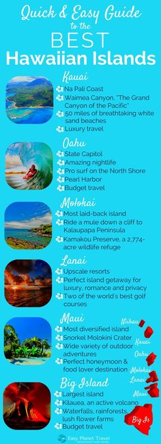 USA Destinations & Places :Quick and Easy Guide to the Best Hawaiian Islands Easy Planet Travel Hawaii Honeymoon, Hawaii Vacation, Honeymoon Destinations, Vacation Trips, Hawaii 2017, Hawaii Life, Maui Hawaii, Travel To Hawaii, Vacation Ideas
