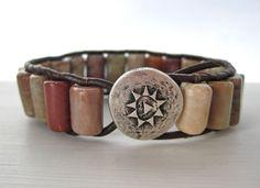 Leather Wrap Bracelet Bohemian Style Cuff Single Wrap.