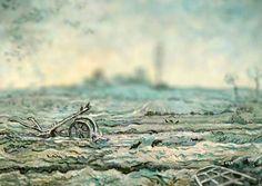 Snow-Covered Field with a Harrow, 1890. Van Gogh.  VAN GOGH EN MINIATURA (TILT-SHIFT). REHACIENDO ARTE.