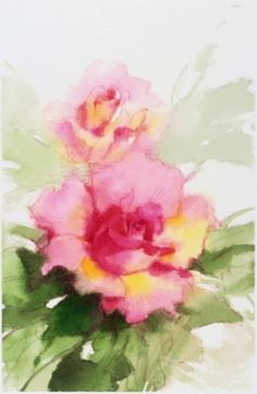 soft gorgeous rose watercolor by Maite Rovira