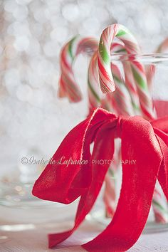 Candy canes in a glass, dressed up with a red ribbon. Just add cocoa...