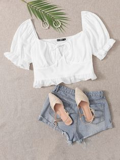 Plus Tie Front Ruffle Trim Milkmaid Top Crop Top Outfits, Girly Outfits, Cute Casual Outfits, Stylish Outfits, Summer Outfits, Girls Fashion Clothes, Fashion Outfits, Cute Fashion, Girl Fashion