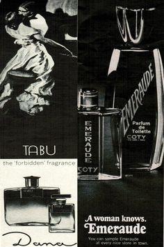 Emeraude and Tabu Perfume Ads 1968