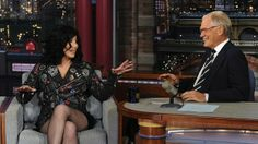 Cher chats with host David Letterman during a taping of Late Show with David Letterman, Tuesday, Sept. 24, 2013 in New York.