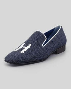 Hadleigh's | Drake Men's Sparkling Smoking Slipper, Navy #hadleighs #smoking #slipper