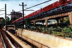NY 7 Train - watercolor by Diana K Oliver