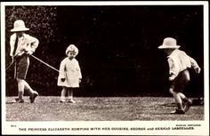 Queen Elizabeth II (1926-) playing with cousins George & Gerald Lascelles, the children of Princess Mary (1897-1965) & Henry George Charles Lascelles (1882-1947) 6th Earl of Harewood, UK. George and Gerald lived at Goldsborough Hall throughout the 1920s.