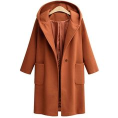 Sugar Honey 4xl Plus Size One Button Front Pockets Hooded Coat (93 PEN) ❤ liked on Polyvore featuring outerwear, coats, pocket coat, brown coat, plus size hooded coat, hooded coat and women's plus size coats