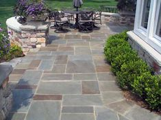 Concrete Patio Landscaping House 16 Ideas For 2019 Concrete Patios, Paving Stone Patio, Bluestone Patio, Paving Stones, Slate Patio, Pavers Patio, Driveway Pavers, Stone Walkways, Stone Paths