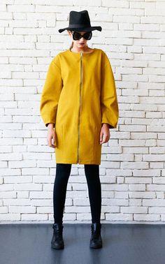 NEW Mustard Zipper Dress/Extravagant Short Coat/Yellow Maxi