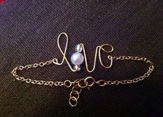 Love Wire Bracelet. Available in silver or gold.  on Etsy, $7.00