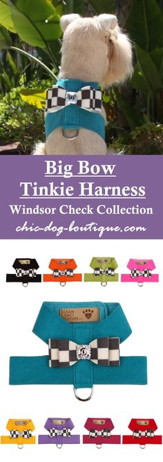 """This classic tinkie dog harness by Susan Lanci Designs comes in 9 different Ultrasuede color choices with a """"Windsor Check"""" Big Bow detailed with a bold checkered pattern of charcoal and cream accented by a large, genuine Swarovski crystal button. It secures with strong Velcro neck and chest closures. Get this upscale harness from $73.95 in sizes XXS-XL (small to medium dog breeds only)."""