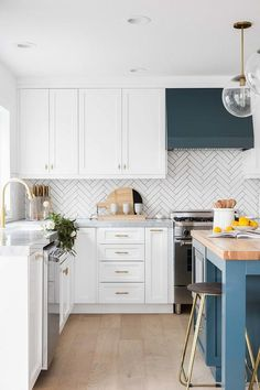 kitchen with a pop of color