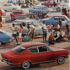Summer! 1960s Automotive Beach Cars Party Outdoors Campfire Bonfire www.romeoauto.it