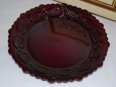 "AVON 1876 CAPE COD Ruby Red Vintage Glass 7-1/2"" Dessert Plate #AvonCapeCodCollection"