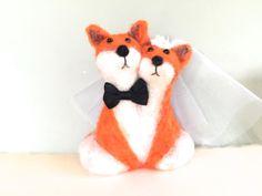 Needle felted Fox wedding cake topper fox cake topper by Felt4Soul