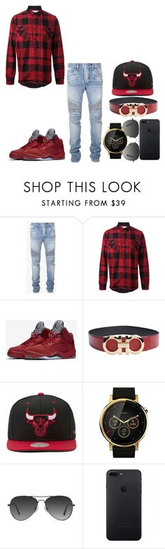 """Love Yourself"" by typical-dresser ❤ liked on Polyvore featuring Balmain, Sacai, NIKE, Salvatore Ferragamo, Mitchell & Ness, Motorola and EyeBuyDirect.com"