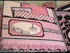 Baby Girl Mini Album - YouTube Mini Photo Albums, Mini Albums, Chipboard Crafts, Baby Mini Album, Teresa Collins, Memory Album, Crafts With Pictures, Shabby, Album Book