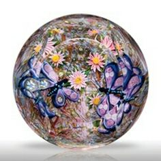 Modern butterfly-and-dahlia faceted magnum paperweight by Debbie Tarsitano