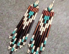 Items similar to Native American style Beaded Earrings on Etsy Beaded Earrings Native, Beaded Earrings Patterns, Seed Bead Earrings, Beading Patterns, Etsy Earrings, Seed Beads, Native American Design, Native American Fashion, Native American Earrings