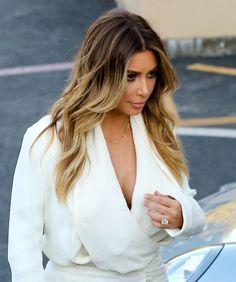 Kim kardashian candids of her blonde balayage hair heading to see Ellen