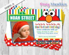 ELMO invitation, Photo Invitation for Elmo Sesame Street birthday party