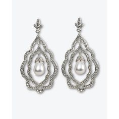 Glass-Pearl/Pavé Chandelier Earring ($48) ❤ liked on Polyvore