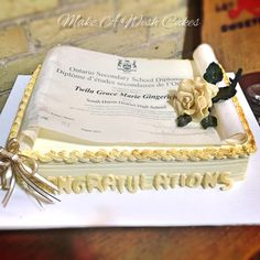 Chocolate Roses, Sheet Cakes, Graduation Cake, Modeling Chocolate, Wafer Paper, Make A Wish, Custom Cakes, How To Make Cake, Special Occasion