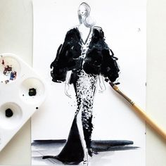 How STUNNING is this illustration of my fall 2015 collection by @jeanettegetrost.. full feather vest moment..thank u!!