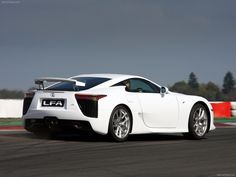Lexus LFA - its powered by a 72-degree bank angle 4.8-liter V10 engine equipped with dual VVT-i carrying the 1LR-GUE designation with a maximum output of 412 kW (560 PS) delivered at 8,700 rpm. Its maximum torque output of 480 N·m (354 lb·ft) arrives at 6,800 rpm, 90 percent of which is available from 3,700 rpm. The engine redlines at 9,000 rpm, but with a fuel cutoff set at 9,500 rpm, and is constructed using forged aluminum pistons, forged titanium connecting rods, and solid titanium…