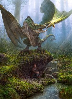 Maybe the wyvern is their friend, and they are playing hide and seek. Not all wyverns or dragons are ferocious killing machines, some are friendly and playful. Magical Creatures, Fantasy Creatures, Fantasy Wesen, Dragon Medieval, Cool Dragons, Dragons Den, Dragon's Lair, Dragon Artwork, Dragon Pictures