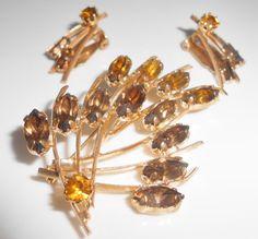 Amber Gold Rhinestone Brooch Pin & Clip by Libbysmomsvintage https://www.etsy.com/shop/Libbysmomsvintage
