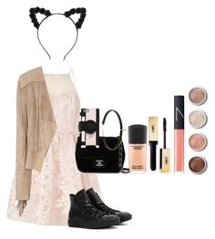 """IM GUNNA PARTY IN COMFORT"" by chloe-ashforth on Polyvore featuring Lipsy, Converse, Chanel, Kate Spade, NARS Cosmetics, Terre Mère, MAC Cosmetics and Glamorous"
