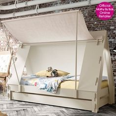 This awesome Children's Tent Cabin Bed is the perfect centerpiece in any kids bedroom. The cloth side wall opens up as a canopy which is held up by 2 poles. It can easily be taken down and the cloth rolled up and fastened with strips. Tent Bedroom, Bed Tent, Canopy Tent, Fort Bed, Ikea Canopy, Window Canopy, Canopy Curtains, Backyard Canopy, Kid Furniture