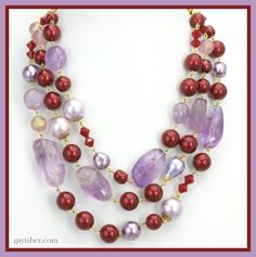 Amethyst, rare purple cotton pearls and burgundy Swarovski pearls...not for the faint of heart but for that person that loves to be noticed by Gay Isber Austin, Texas