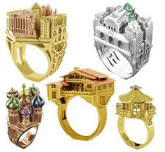 Architectural Rings From Philippe Tournaire - Archipolis, Paris, Moscow, New York Trendy Fashion Jewelry, Fashion Jewelry Necklaces, Jewelery, Jewelry Accessories, Jewelry Design, Famous Structures, Famous Buildings, Unique Rings, Unique Jewelry