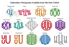 Many of these monograms are available exclusively from The Itch 2 Stitch! Embroidery Blanks, Embroidery Monogram Fonts, Applique Monogram, Machine Embroidery, Alphabet Images, French Script, Satin Stitch, Monograms, Fancy