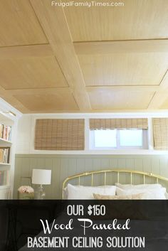 Are you looking for basement ceiling options? We wanted an idea for our low basement ceiling & we found one! A special & The post How to Make a Basement Plywood Ceiling (that looks like wood paneling! Plywood Ceiling, Basement Ceiling Options, Basement Walls, Basement Bedrooms, Wood Ceilings, Basement Ideas, Basement Bathroom, Basement Subfloor, Basement Furniture