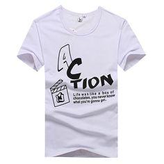 JVR Men Cotton Short Sleeve Crew Collar Action T-shirt in White - Shipping Cap Promotion- - TopBuy.com.au