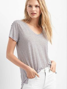 Striped T Shirts, White T Shirts, Pink Stripes, V Neck Tee, Capsule  Wardrobe, Gap Women, Slim, Linens, Bedding