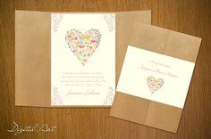 Quer um convite único, romântico e delicado? Faça seu casamento ter o charme dos eventos DIY com esse convite! Delicadas flores em aquarela fazem a diferença nesse modelo exclusivo!