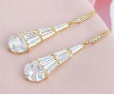Gold Art Deco Wedding Earrings