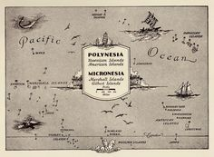 1945 Vintage PACIFIC ISLANDS Map Fun Pictorial POLYNESIA Picture