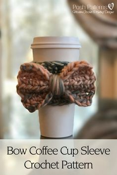 Free Crochet Pattern - A super cute crochet coffee cup sleeve with a big, fun bow. By Posh Patterns.