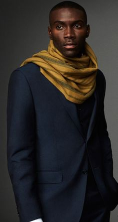 Mustard Scarf and Navy Suit Jacket | Men's Fashion | Menswear | Men's Outfit for Fall/Winter | Moda Masculina | Shop at DesignerClothingFans.com