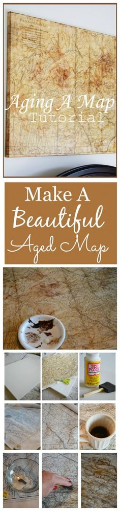 AGING A MAP DIY Make a beautiful aged map to hang as art. Easy, step-by-step directions Map Crafts, Diy And Crafts, Decor Crafts, Map Projects, Projects To Try, Photo Coasters, Scrapbooking, Do It Yourself Home, Vintage Maps