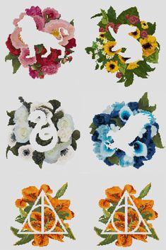 Floral Hogwarts Houses & deathly Hallows Symbols <3