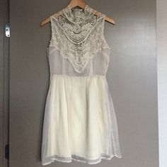 ark and co., from need supply. tags on. size s. pale cream, lace sleeveless dress. nice lace detail on chest and neck. 3 little buttons to close the dress. Ark & Co Dresses Mini