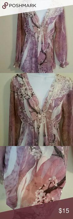 Slightly sheer plunge neck line size M Sienna Rose slightly sheer blouse long sleeve plunge neckline size M mushka by sienna rose Tops Blouses